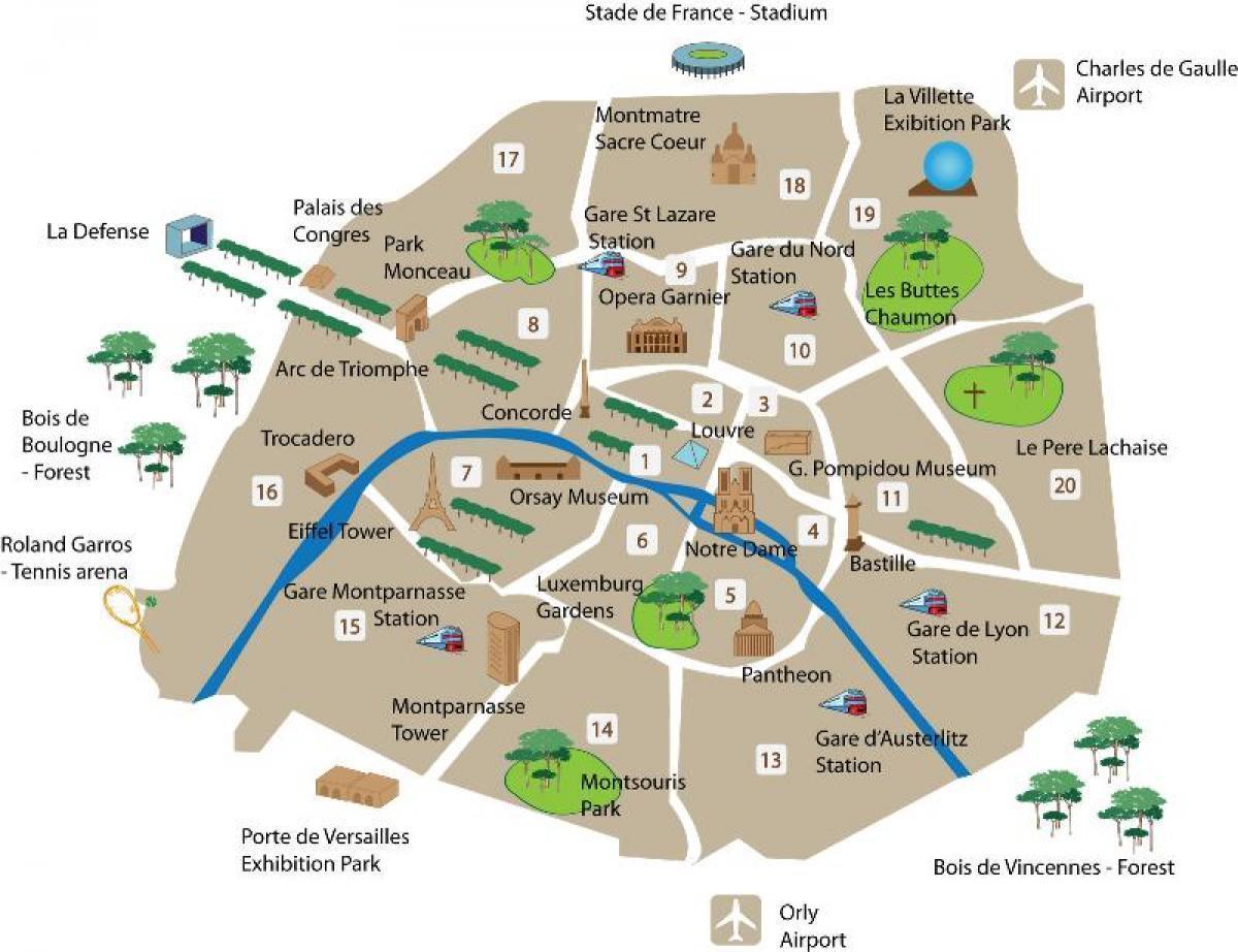 Karta Over Paris Arrondissementen Med Attraktioner Karta Av