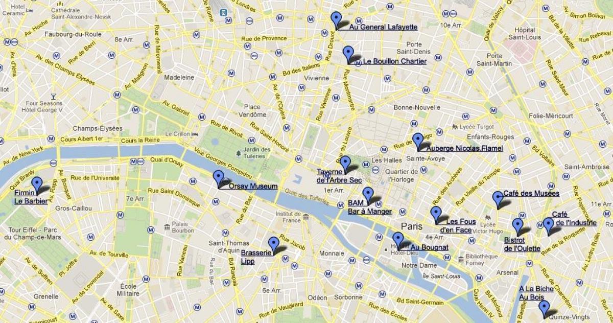 Restaurang I Paris Karta Karta Over Paris Restaurang Ile De